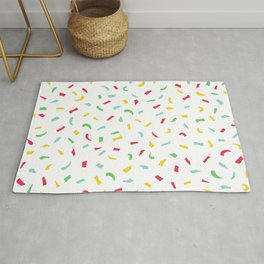 Colorful Red Blue Yellow Green Kids Vanilla Cake Cupcake Confetti Rug