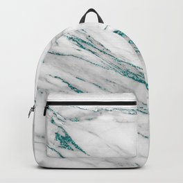 Gray Marble Aqua Teal Metallic Glitter Foil Style Backpack