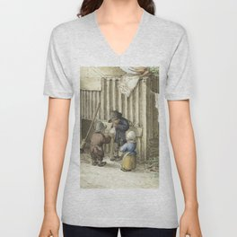 Three children playing with a pig bladder by Jean Bernard (1775-1883) Unisex V-Neck