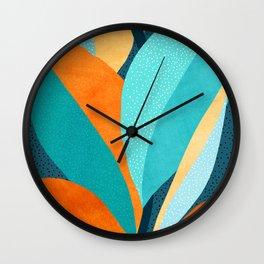 Abstract Tropical Foliage Wall Clock