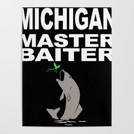 Funny Michigan Master Baiter drawing for men or women Poster
