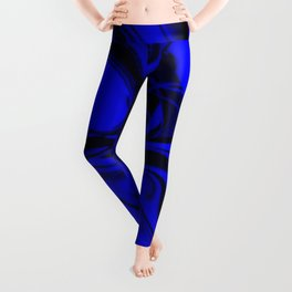 Black and Blue Swirl - Abstract, blue and black mixed paint pattern texture Leggings