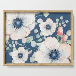 Summer Flowers Blue #society6 #buyart Serving Tray