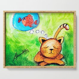 Yellow Cat dreaming  Serving Tray