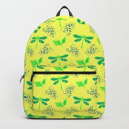 Pretty beautiful cute green dragonflies, delicate little leaves elegant bright spring yellow pattern Backpack