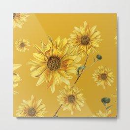 Sunflower Pattern 3 Metal Print