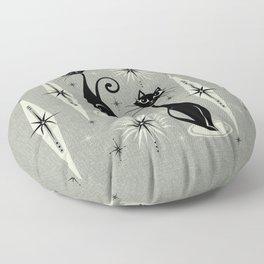Mid Century Meow Retro Atomic Cats - Gray Floor Pillow