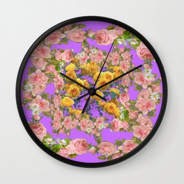 PINK & YELLOW SPRING ROSE GARDEN LILAC PURPLE VIGNETTE Wall Clock