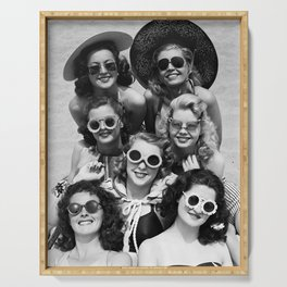 Vintage Girls In Sunglasses Serving Tray