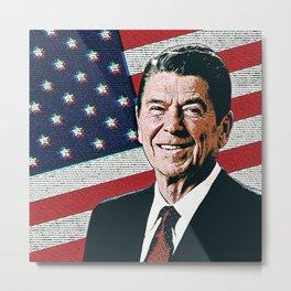 Patriotic President Reagan Metal Print