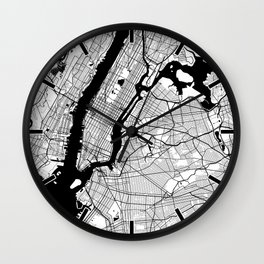 New York City Map of the United States - Circle Dark Wall Clock