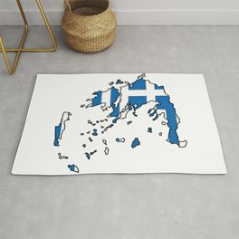 Greece Map with Greek Flag Rug