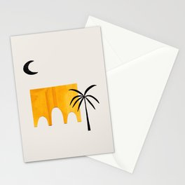 Minimalist Minimal Mid Century Abstract Middle Eastern Ancient Ruins Palm Tree Stationery Cards