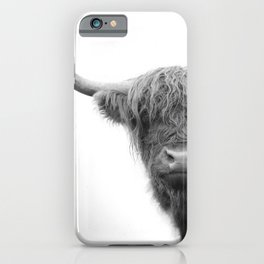 Highland Cow Black & White #4 #wall #art #society6 iPhone Case