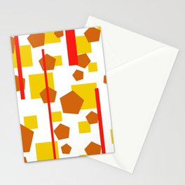 Rectangle Pentagon Stripes Design orange Stationery Cards