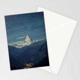 Matterhorn Mountain Night Stars Landscape Town Valley Stationery Cards