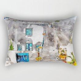Aquarelle sketch art. Unique Santorini architecture, beautiful buildings Rectangular Pillow