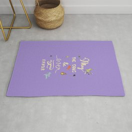 Hunger Game quality calligraphy - gold version - purple Rug