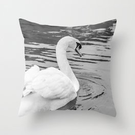 Mute swan retreating up the River Bure, Wroxham Throw Pillow