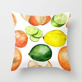 Watercolor citruses Throw Pillow