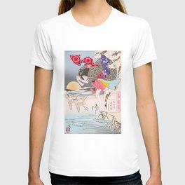 Leaping Geisha - Vintage Japanese Art print T-shirt