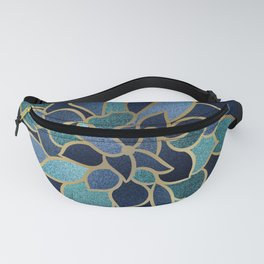 Festive, Floral Prints, Navy Blue, Teal and Gold Fanny Pack