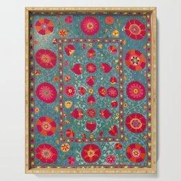 Bokhara Suzani Uzbekistan Embroidery Print With Green Serving Tray