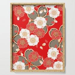 Japanese Vintage Red Black White Floral Kimono Pattern Serving Tray