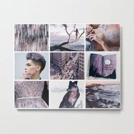 Purple and Grey Wolf Moodboard Metal Print
