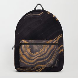 Dark Night Marble With Gold Glitter Waves Backpack
