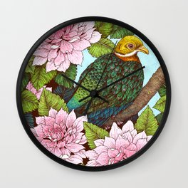 Whistling Fruit Dove in Spring Wall Clock