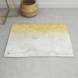 Gold Glitter and Grey Marble texture Rug