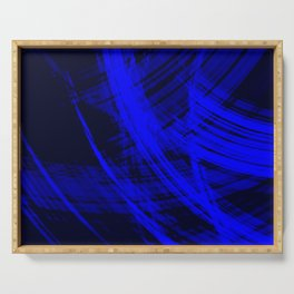 Sharp filaments of metallic ultramarine threads with the energy of magic.  Serving Tray
