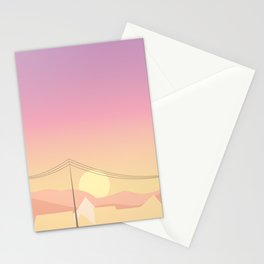 Japan Mountain Town Sunset Illustration Stationery Cards