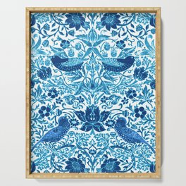 Art Nouveau Bird and Flower Tapestry, Blue and White Serving Tray