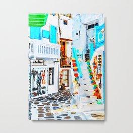 Mykonos Shop Watercolor Art Metal Print