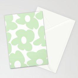 Large Baby Green Retro Flowers White Background #decor #society6 #buyart Stationery Cards
