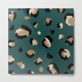 Teal Leopard Print Metal Print