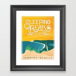 Sleeping Bear Dunes - Vintage Inspired Michigan Travel Poster Framed Art Print