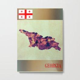 Georgia Map with Flag Metal Print