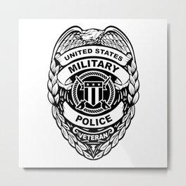 U.S. Military Police Veteran Security Force Badge, Black Line Art Metal Print
