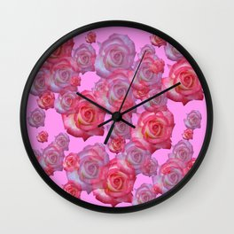 COLLAGE  ARRANGEMENT OF PINK ROSES GARDEN ART Wall Clock
