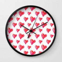 Romantic Red Hearts Wall Clock