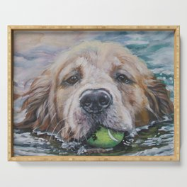 GOLDEN RETRIEVER dog portrait painting by L.A.Shepard fine art Serving Tray