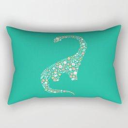 Floral Brontosaurus on Teal Rectangular Pillow