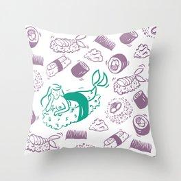 Mermaid Sushi Throw Pillow