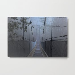 Bridge in the Mist Metal Print