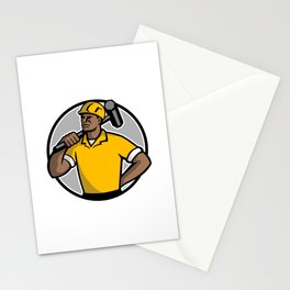 African American Demolition Worker Mascot Stationery Cards