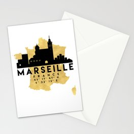 MARSEILLE FRANCE SILHOUETTE SKYLINE MAP ART Stationery Cards