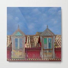 Roof Windows Abandoned House Facade Metal Print